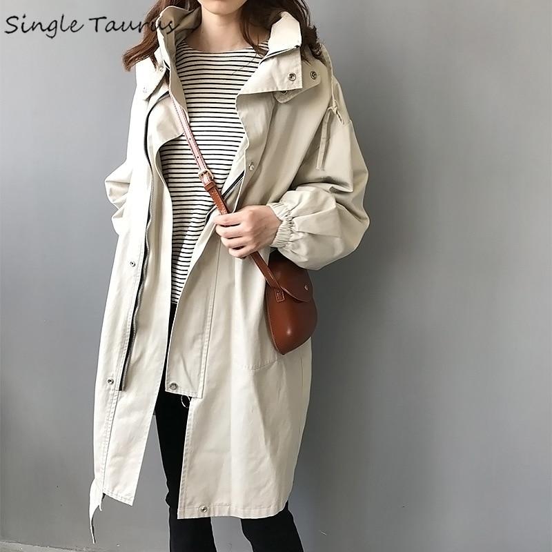 England Style Women Long Coat Khaki Long Sleeve Zipper Hooded   Trench   Femme Streetwear Causal Fall Korean   Trench   Coat for Women