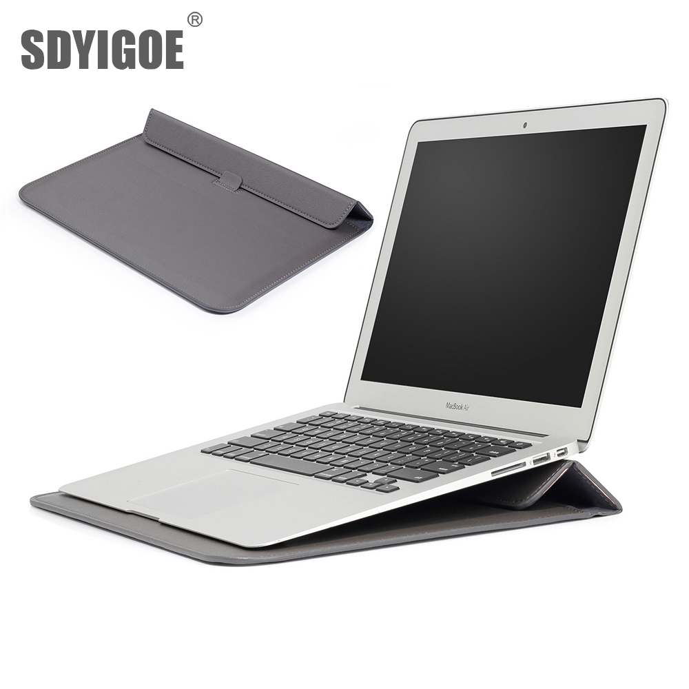 PU Leather <font><b>Laptop</b></font> Sleeve Case with Stand Holder Bag for Macbook pro 13 11 Air 13 Pro 13.3 15 <font><b>inch</b></font> <font><b>Laptop</b></font> bag Color notebook bag image