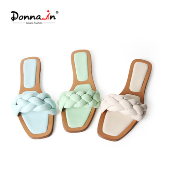 Donna-in Flat Women Slippers Beach Shoes 2020 Weave Leather New Design Casual Summer Flip Flops Outdoor Open Toe Female Slippers