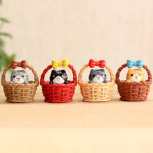 Nice Cheese Chis Cat Kitty Adopt Gift Box Kitten Model Statue Figurine Ornament Miniatures Garden Decoration DIY Home(China)