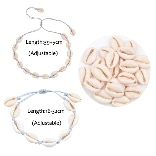 Original Design Shells Necklace Bracelet One Set Natural Seashells Knit Chain Rope Girl Choker Bracelets Jewelry Gift Adjustable 6