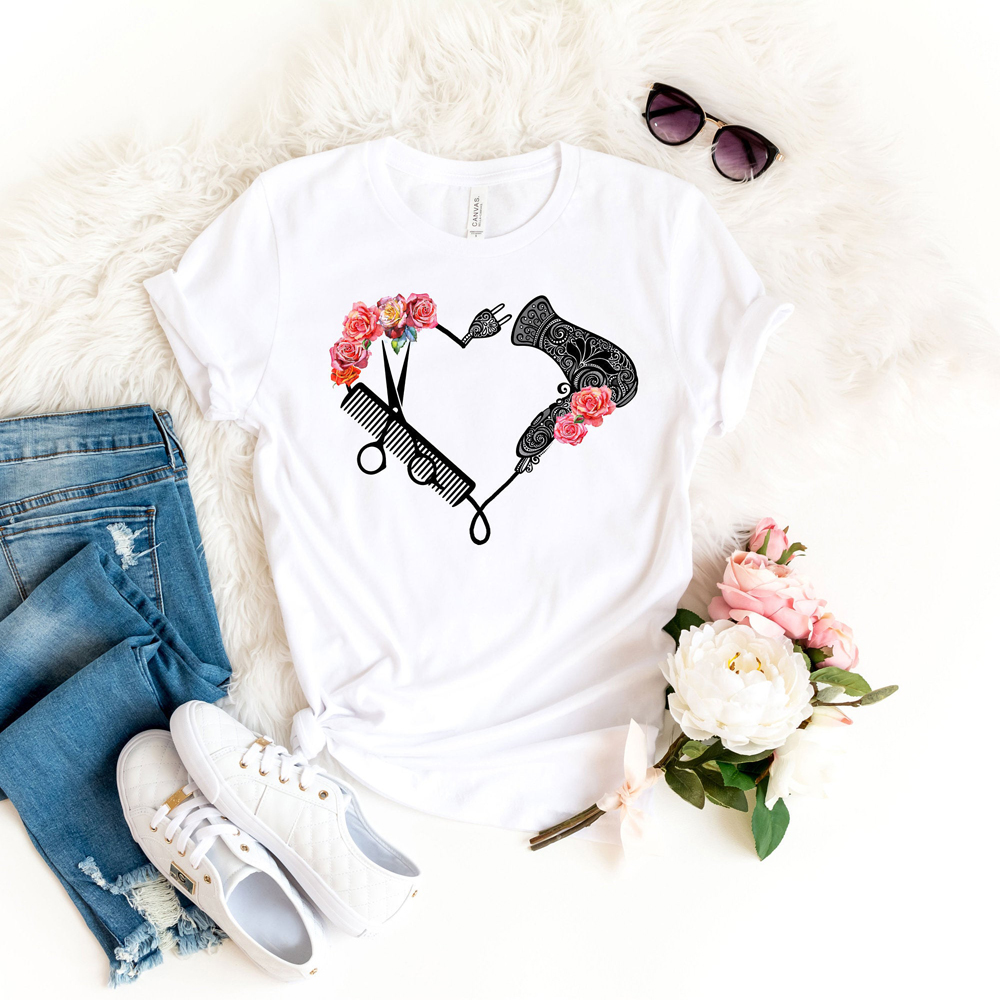 Funny Hairdresser Print T-shirt Hairdresser Graduation Valentine's Day Women Cute Graphic Shirt Gift To Her Cute Shirt For Women