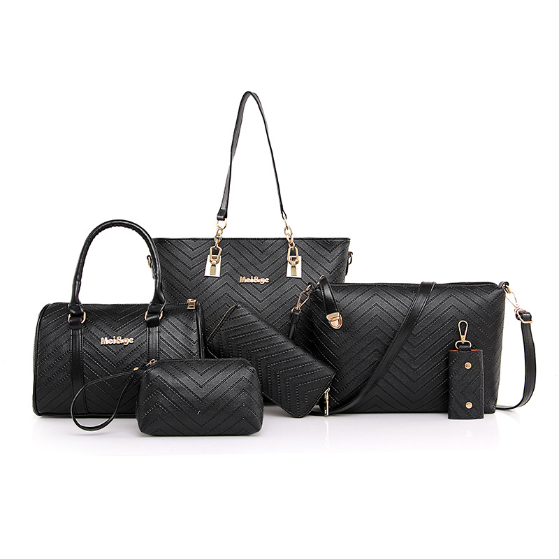 Foreign Trade WOMEN'S Bag 2019 Spring New Style V Pattern Six Pieces Set Different Size Bags Handbag Women's Shoulder