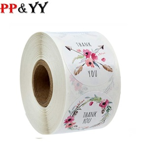 Per roll 6 Designs Floral Thank You Sticker Seal Labels Christmas Gift Decoration Sticker for Package Stationery Sticker