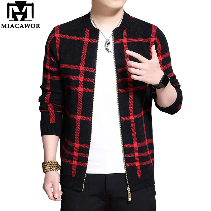MIACAWOR Cardigan Men Casual Plaid Sweater Knitted Cotton Wool Sweater Slim Fit Zipper Sweater Coats Men Clothes Pull Homme Y165