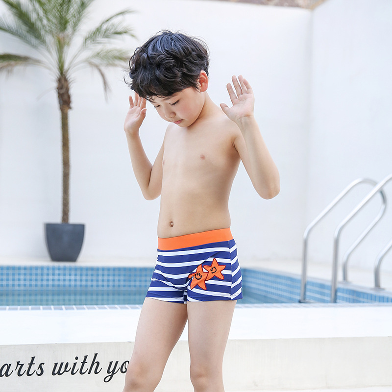 2018 New Style Children Europe And America Hot Selling BOY'S Hot Sales Embroidered Swimming Trunks Large Size Anti-Chlorine Quic
