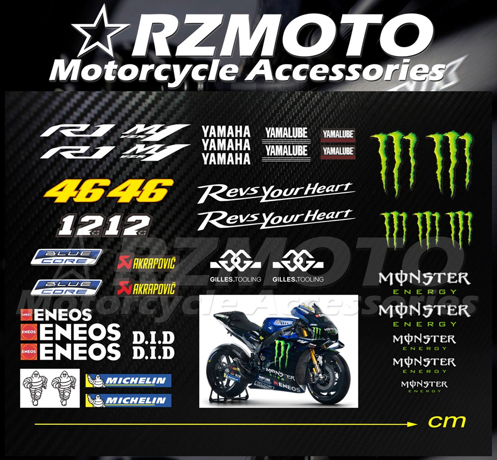 NEW Fit For <font><b>YAMAHA</b></font> <font><b>R1</b></font> M1 <font><b>Sticker</b></font> MOTOGP Valentino Rossi 2015-2020 Motorcycle Decal Logo Pad Fairing Colur DIY RZMOTO image