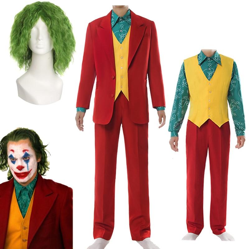 2019 New Joker Cosplay Costume Clown Halloween Party Costume Joker Men Movie Uniform Clown Business Suit Wig Free Shipping
