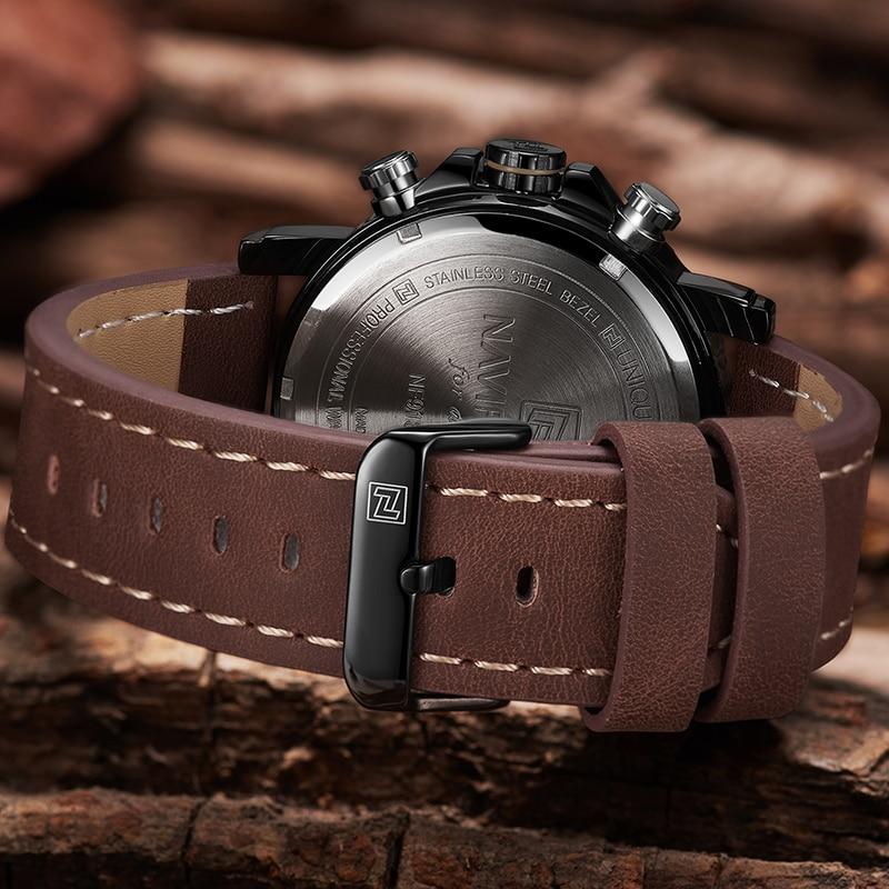 NAVIFORCE Men Watches Top Luxury Brand Men Leather Sport Watch Men's Quartz LED Digital Clock Military Wrist Watch Drop shipping 5