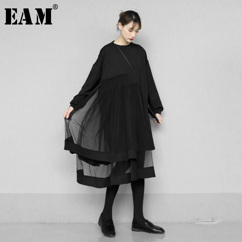 [EAM] Women Black Asymmetrical Mesh Split Big Size Dress New Round Neck Long Sleeve Loose Fit Fashion Spring Autumn 2020 1N547