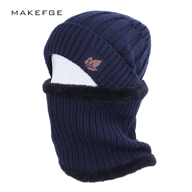 2019 Maple Leaf Men's Winter Hat Scarf 2 Piece Men And Women Striped Cotton Hat Warm Knit Cap Scarf Set Plus Velvet Thicken Bib
