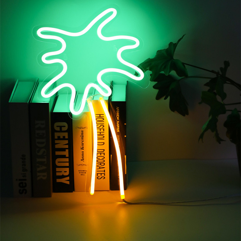 Fashion Neon Green Coconut Tree Led Neon Sign Light Holiday Party Wedding Decorations Kids Room Night Lamp Home Wall Decor Bar image