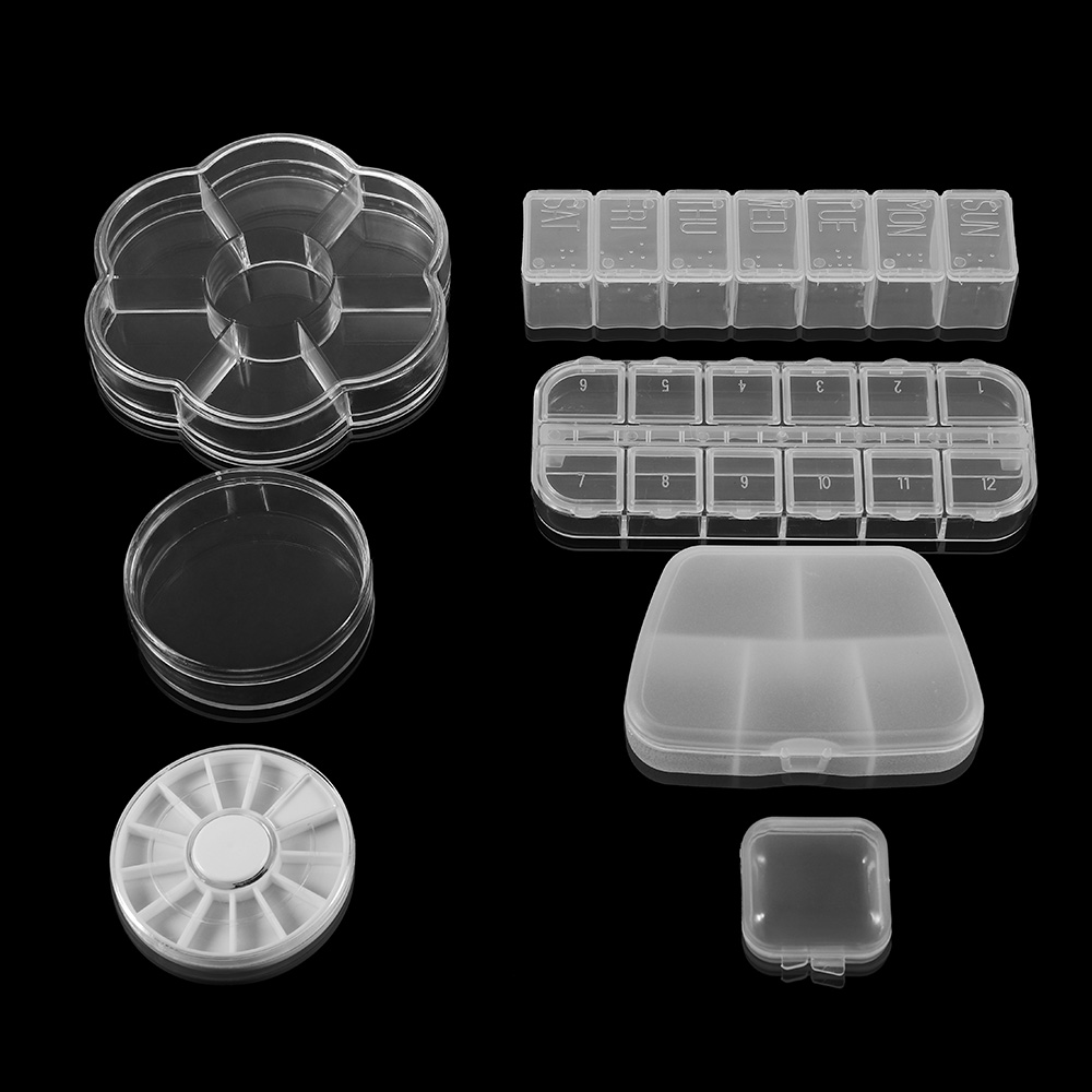 All Kinds Plastic Adjustable Square /Round Transparent Accessories Jewelry Beads Pills Nail Storage Box Case Display Organizer