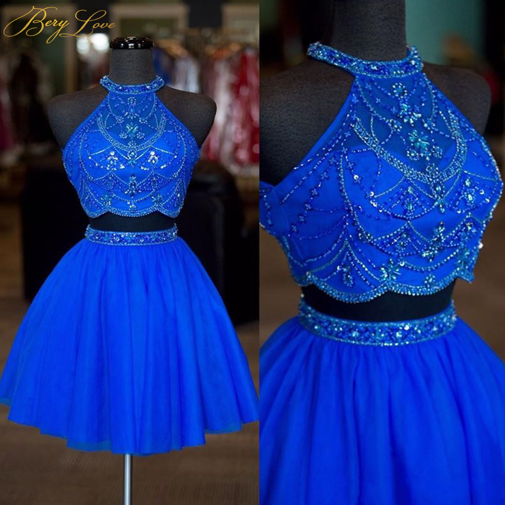 Real Photos Halter Neck Beaded Rhinestone Two Pieces Homecoming Dresses 2019 Sexy Backless A Line Tulle Short Prom Dresses