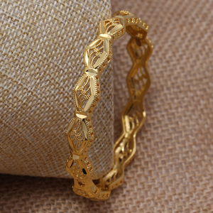 Annayoyo 24K Ethiopian Gold Bangle for Women Wedding Bride Bracelets Gold Color Jewelry Middle East African Bride Gifts