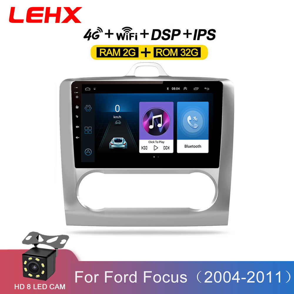 LEHX 2 DIN 9 นิ้ว Android 8.1 Car Multimedia Player Touchscreen Quad-core วิทยุรถสำหรับ 2004 2005 2006-2011 Ford Focus EXI ที่