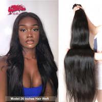 Extensiones de cabello humano liso brasileño, mechones de pelo Remy de 1/3/4 uds, 10
