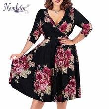 Nemidor robe trapèze Sexy, col en v, manches courtes, robe de fête, Vintage, extensible, grande taille 7XL 8XL et 9XL