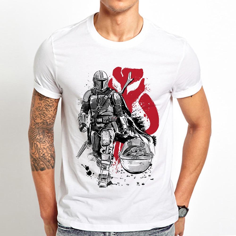 Mando sumi-e warrior funny t shirt men summer new white casual homme short sleeve cool tshirt unisex gift