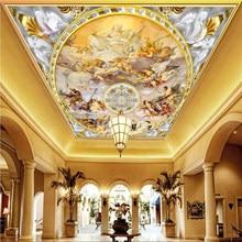 Personalizado qualquer tamanho mural papel de parede estilo europeu figura luxo pintura da parede do teto foto sala estar hotel afresco 3 d