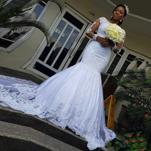 2020 Illusion Langen Ärmeln Afrikanische Hochzeit Kleider Meerjungfrau Spitze Applique Hochzeit Kleider vestidos de novia Perlen Braut Kleider