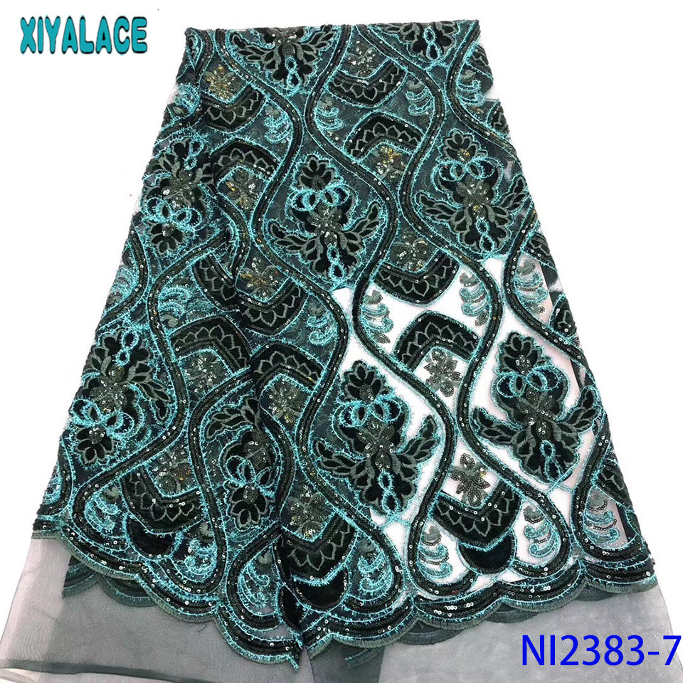 African Fabric Lace 2019,High Quality Sequin Lace Fabric,Velvet Net Laces With Sequence For Party Dresses KSNI2383-7