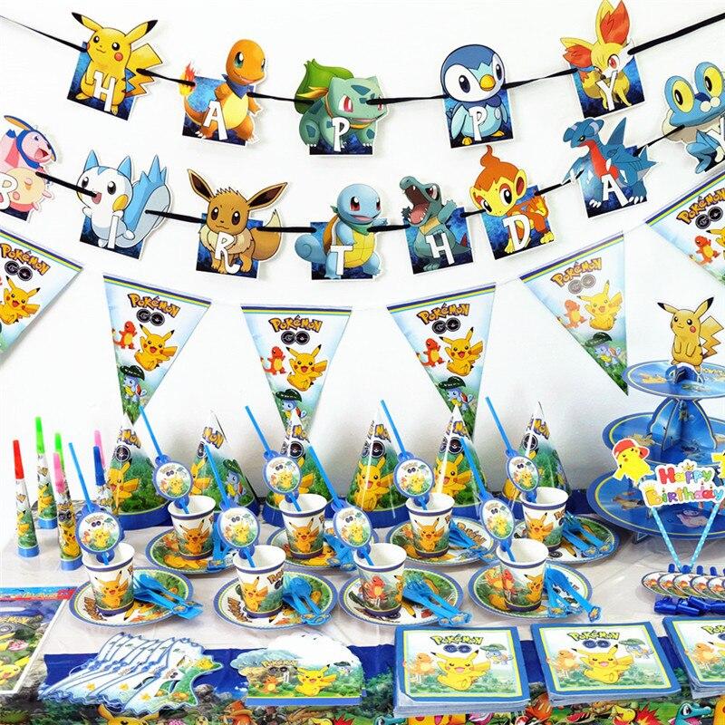 Conjunto de utensílios para festa de aniversário, desenhos animados, pikachu, festa de aniversário, decoração, conjunto de talheres, copos de papel, placas, crianças, suprimentos para festa