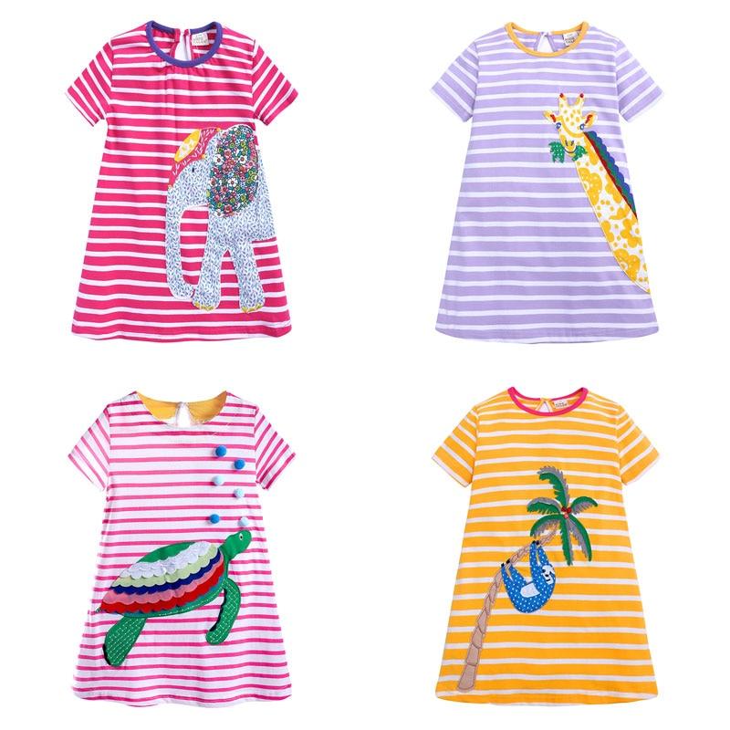 Vestidos de algodão infantis, vestidos para meninas de manga curta, roupas casuais de princesa para o verão, vestidos infantis para bebês