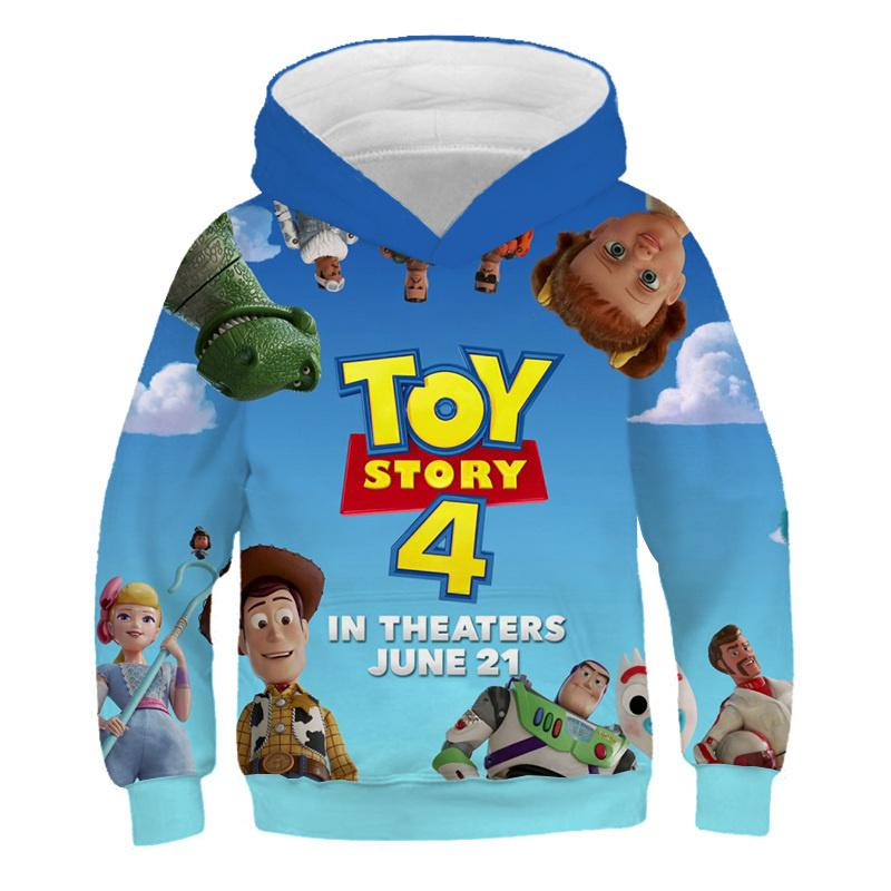 Cartoon Kids Style Child Fashionable Hooded Sweatshirt Toy Story 4 3D Printing Buzz Lightyear Boy/girl Funny Hooded Sweatshirt