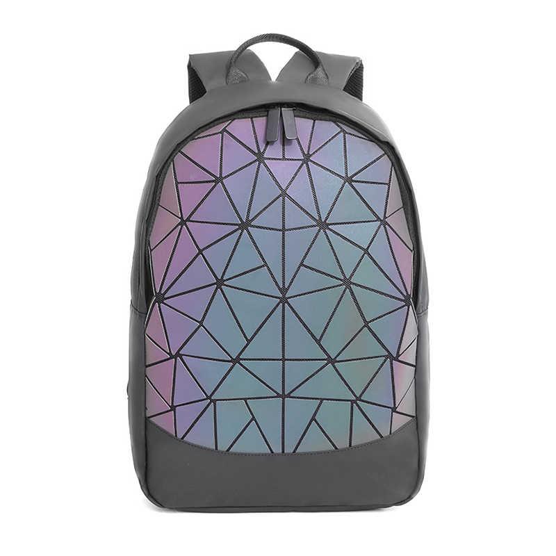 LOVEVOOK, женский рюкзак, школьные сумки для девочек-подростков, сумка в упаковке, складной, геометрический, Светящийся рюкзак, голографический, освежающий, 2019