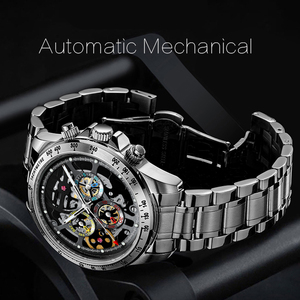 Luxury Brand Skeleton Mechanical Men Watches HAIQIN DESIGN Stainless Steel Automatic Watches For Men pagani design Reloj hombres