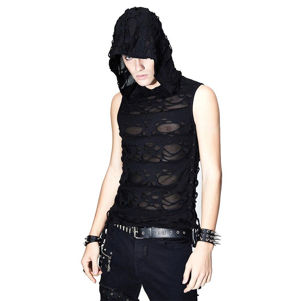Diable mode hommes Punk noir sans manches débardeur Streetwear Punk Rock sweats à capuche gothique décontracté évider gilet