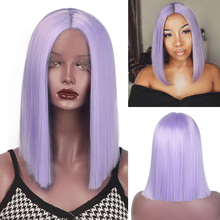 I's a wig Purple Short Straight Lace Front Wigs for women Sy