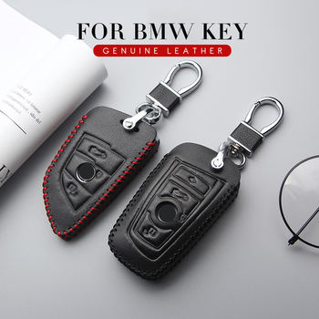 KUKAKEY Genuine Leather Car Key Case Cover Car Styling For BMW F30 F20 X1 X3 X5 X6 X7 E30 E34 E90 E60 E36 E39 E46 Key Bag Holder image