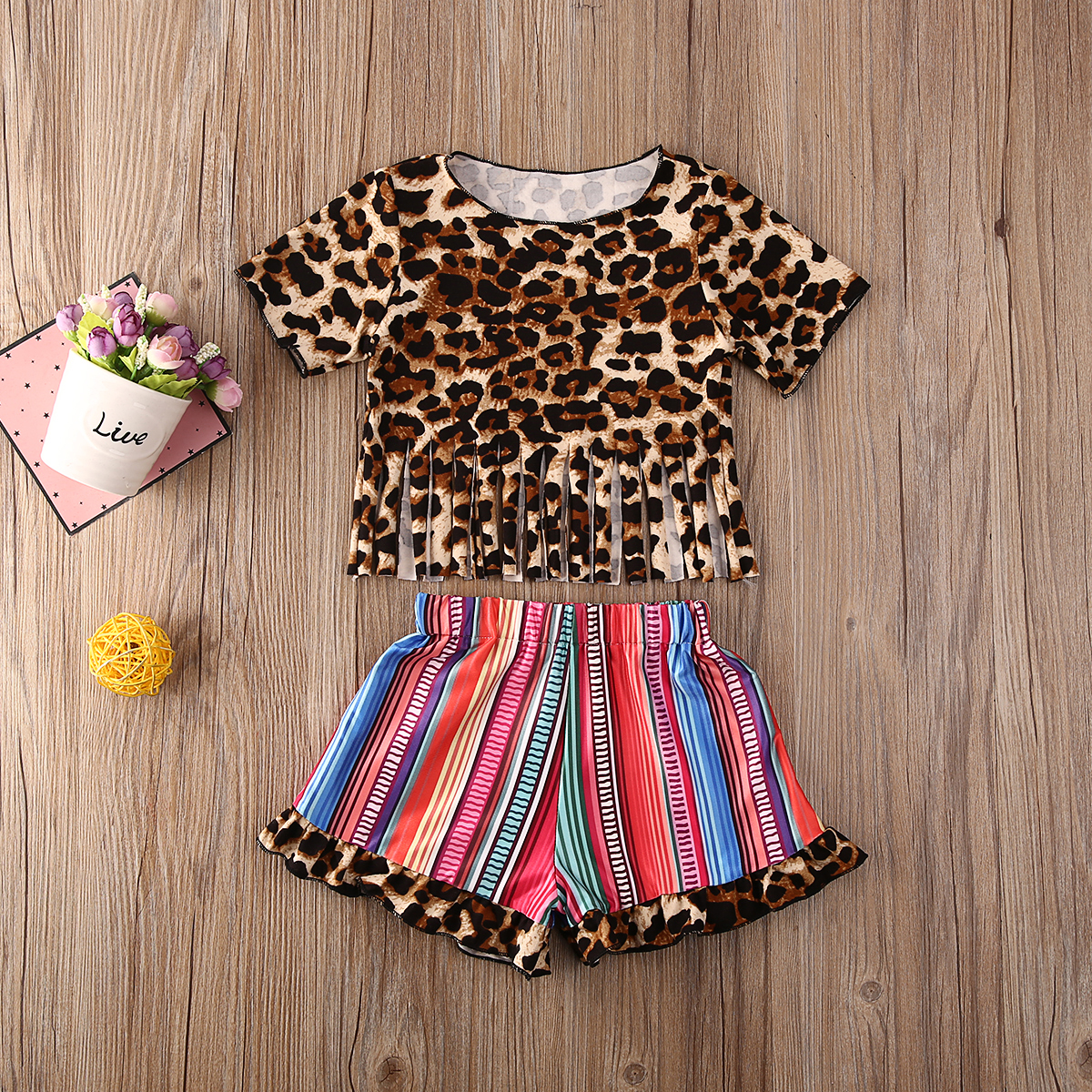 Pudcoco Toddler Baby Girl Clothes Leopard Print Tassle T-Shirt Tops Striped Shorts Pants 2Pcs Outfits Cotton Clothes Summer Set