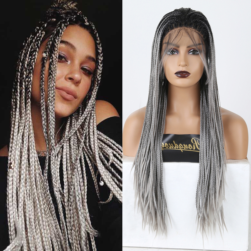 RONGDUOYI Long Ombre Gray Wigs Braided Box Braids Wigs For Women Synthetic Lace Front Wig Heat Resistant Fiber Hair Lace Wig