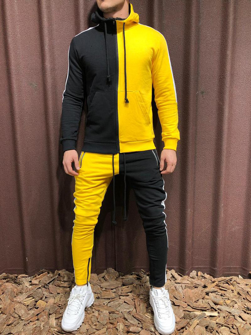 Hot Selling Europe And America Popular Brand Sports Set Men's Stylish Hip Hop Contrast Color Hooded Coat + Pants Two-Piece Set