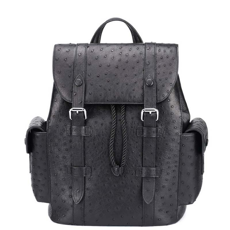 Dae South Africa  Ostrich Leather  Men Backpack  Male  Fashion  Leisure   Genuine Leather  Men's Bags City  Male  Travl Bag