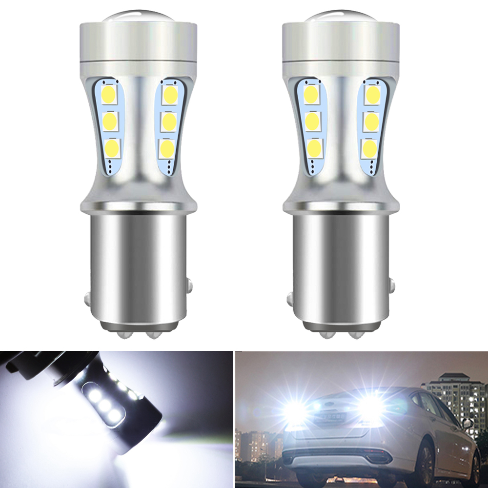 2Pcs <font><b>Canbus</b></font> Auto Reverse Lights 1157 Bay15d <font><b>P21</b></font> 5W 1156 BA15S 7443 T20 T15 W16W <font><b>LED</b></font> Bulb for Ford Fiesta Fusion Focus Mazda 3 5 image