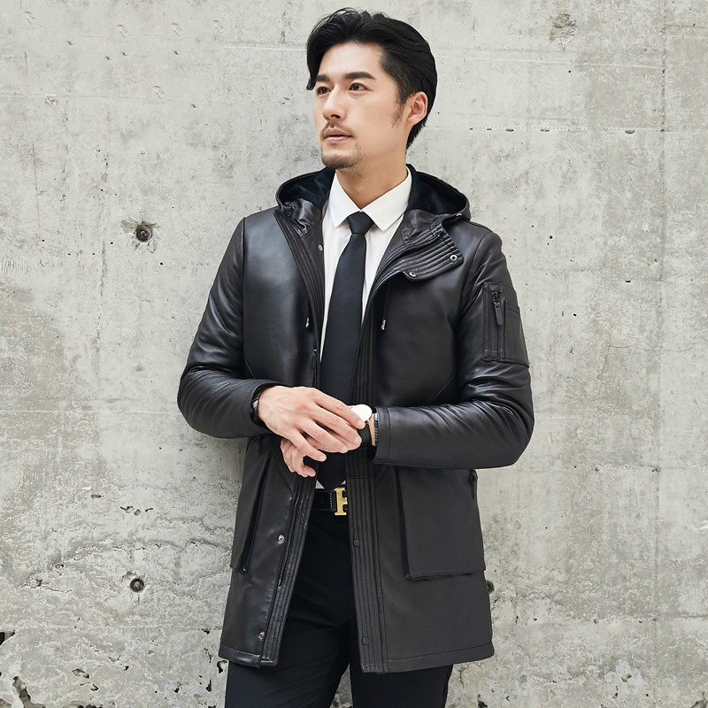 2020 Genuine Leather Jacket Men Real Sheepskin Coat Autumn Winter Mens Down Jacket Hooded Blouson Cuir 1808 KJ1295