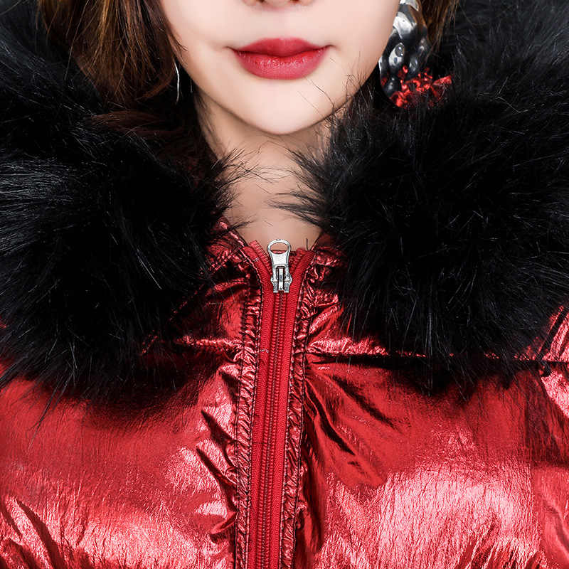 Quality Big Fur Collar Glossy Down Jacket for Women Winter Warm Cotton Jackets Females 2019 Winter Jacket Short Loose Outwear