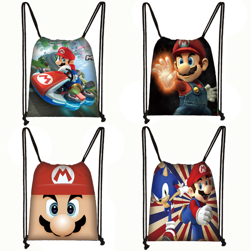 Cartoon Mario Drawstring Bag Boys Girls Storage Bag Kids Canvas Backpack Travel Bags Children Bookbag