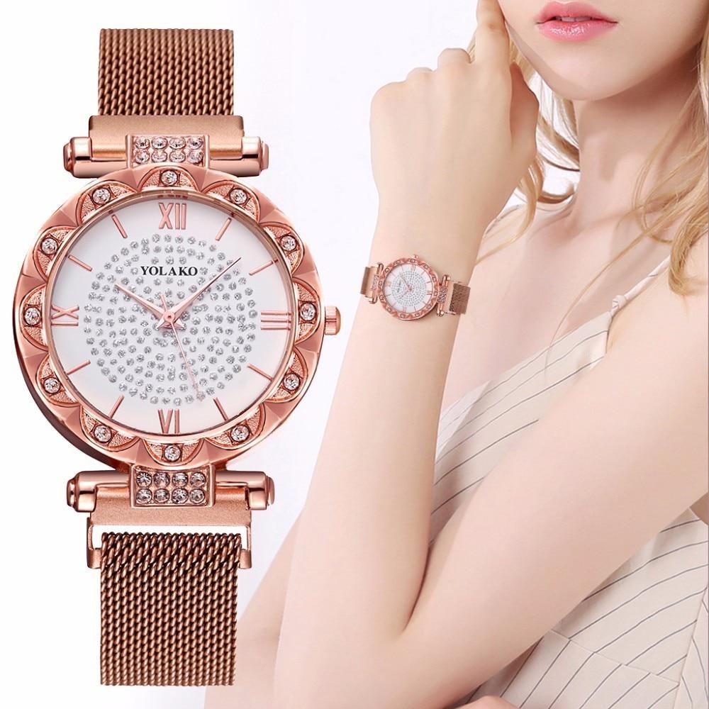 Fashion Women Magnet Buckle Diamond Wrist Watches Casual Luxury Ladies Stainless Steel Mesh Belt Quartz Watch Relogio Feminino