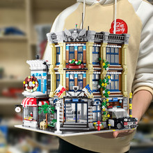 Criador especialista vista de rua ug10199 3111 pces estação de polícia bricktoria modular moc tijolos modelo blocos de construção brinquedo grande emporium