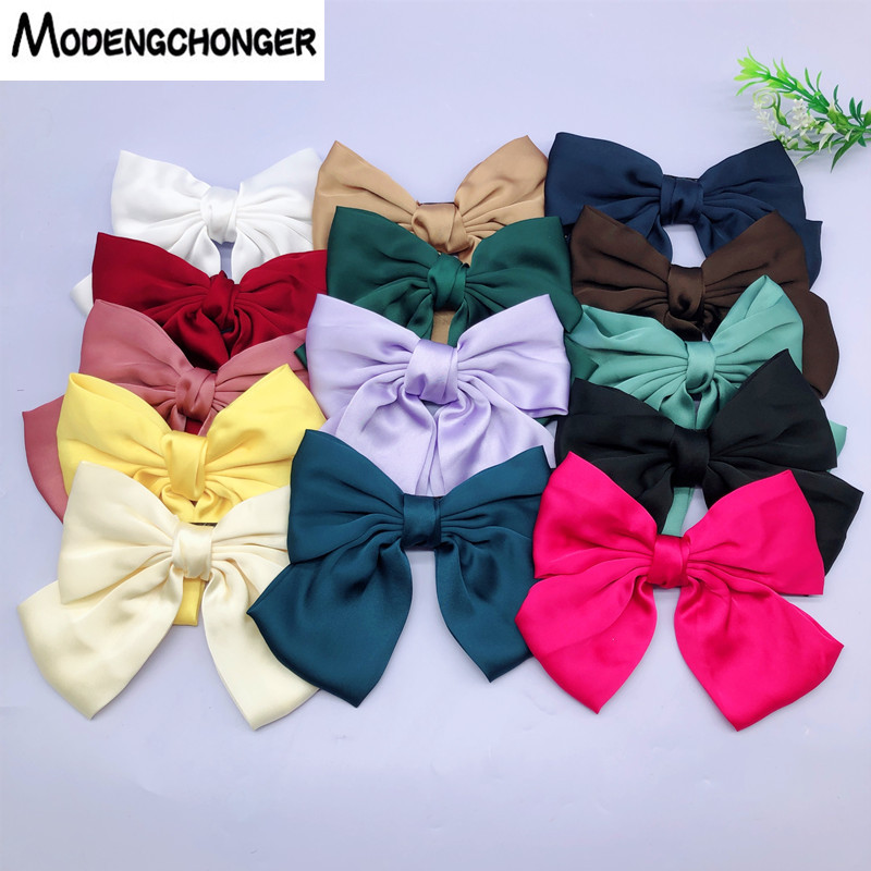 2019 Fashion Big Large Bow Hairpin Soft Chiffon Hairgrips For Women Girls Satin Trendy Lady Hair Clip Barrette Hair Accessories