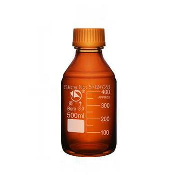 1PC 500ml Lab brązowa butelka odczynnika z zakrętką Amber zamknięta butelka szklana butelka próbka laboratoryjna tanie i dobre opinie Laboratorium butelki Brązowy przejrzyste borosilicate glass