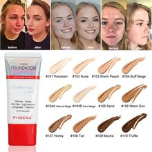 PHOERA New Foundation Cream Soft Matte Long Wear Oil Control Concealer Liquid Cover Freckles Acne Marks Women Makeup