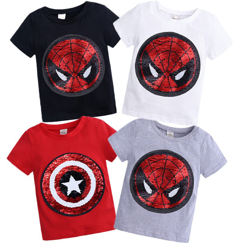 Change Color Sequins Discoloration Spiderman Captain America Cotton Summer Tshirts for Children Girl Boys T Shirt Tops image