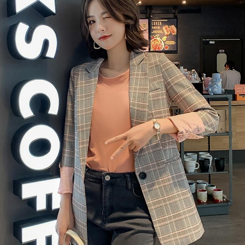 Office Wear Ladies Notched Collar Plaid Women Blazer Plus Size Loose Jacket 2019 Cotton Chic Female Suit Coat Casual Cardigan 64