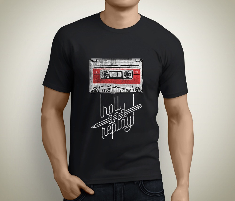 Roll and Replay Music Cassette Audio Vintage Men'S Black Newest O-Neck Cotton Short Sleeve O-Neck Comfortable T-Shirt Homme Tee